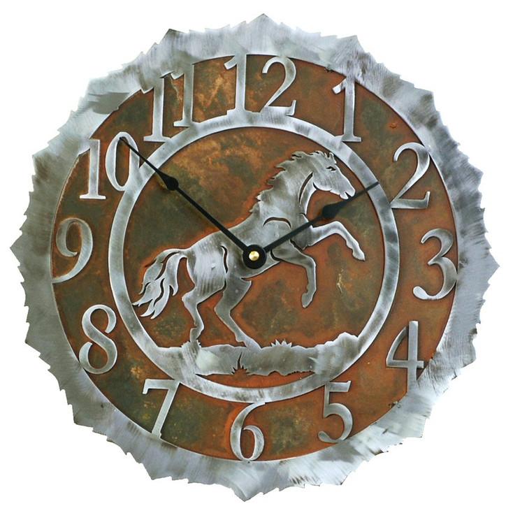 "12"" Horse Metal Wall Clock"