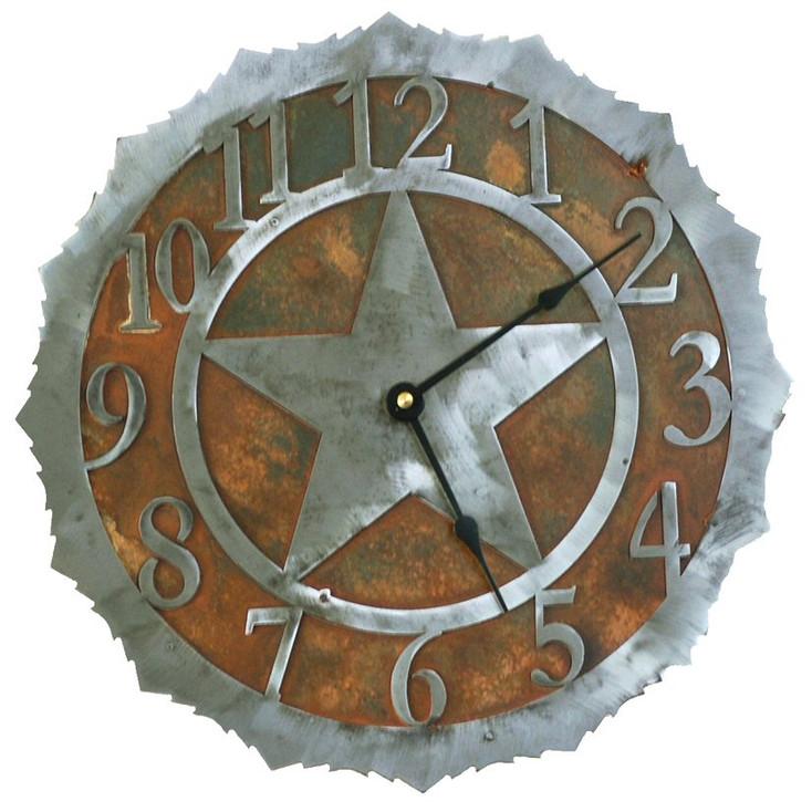 "12"" Texas Star Metal Wall Clock"