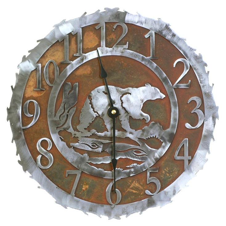 "12"" Walking Bear Metal Wall Clock"