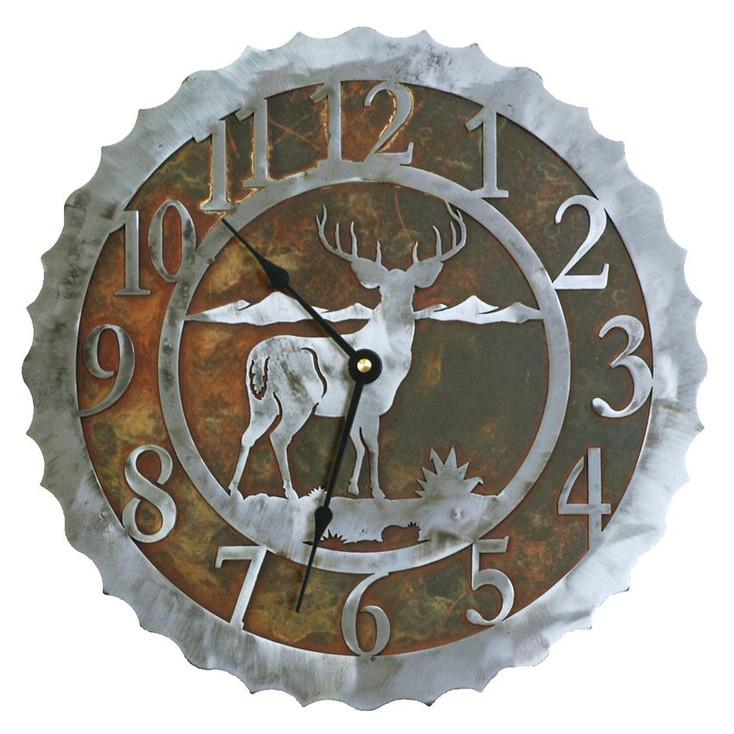 """12"""" Deer Metal Wall Clock"""
