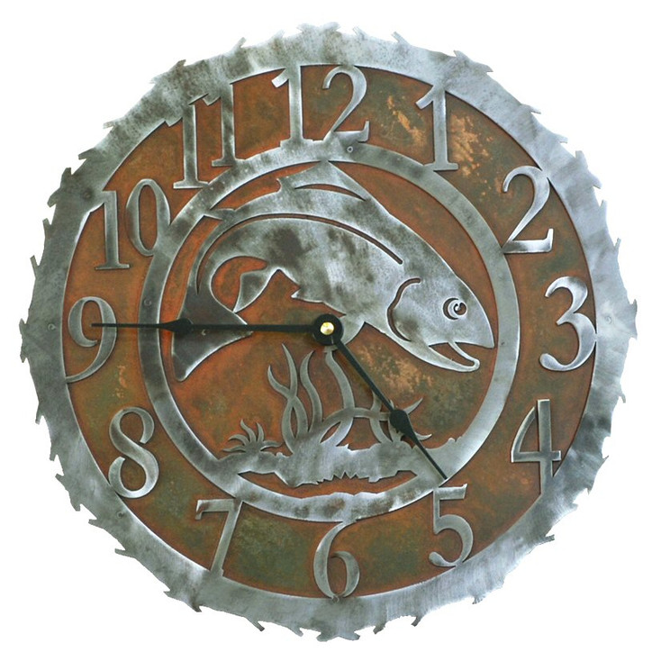 "12"" Trout Fish Metal Wall Clock"