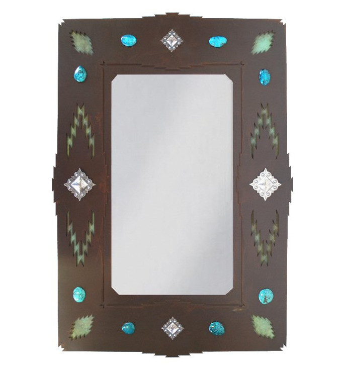 """30"""" Desert Diamond Metal Wall Mirror with Stones and Conchos"""