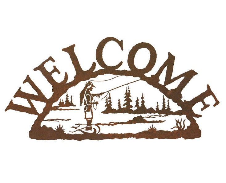 Woman Fly Fishing Metal Welcome Sign