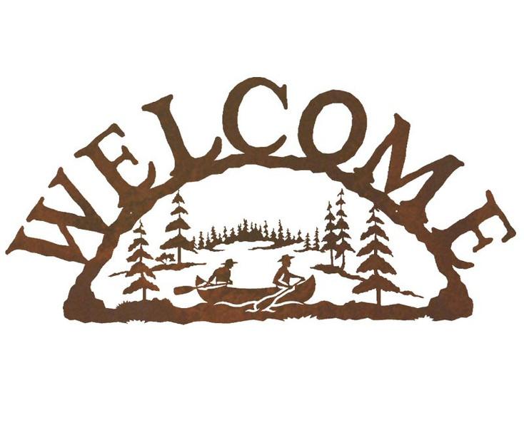 Canoe Metal Welcome Sign