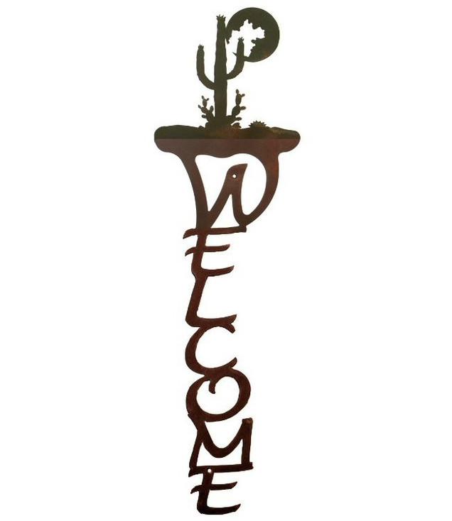 Desert Moon Vertical Metal Welcome Sign