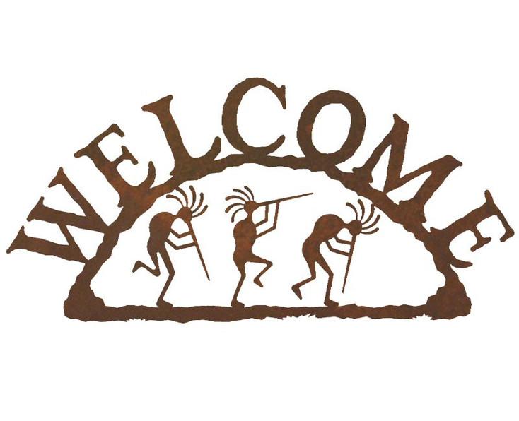 Kokopelli Metal Welcome Sign