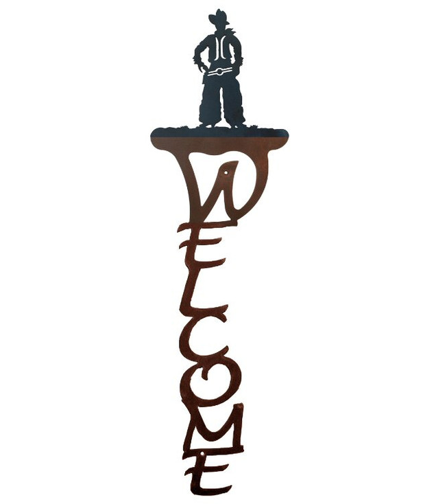 Cowboy Vertical Metal Welcome Sign