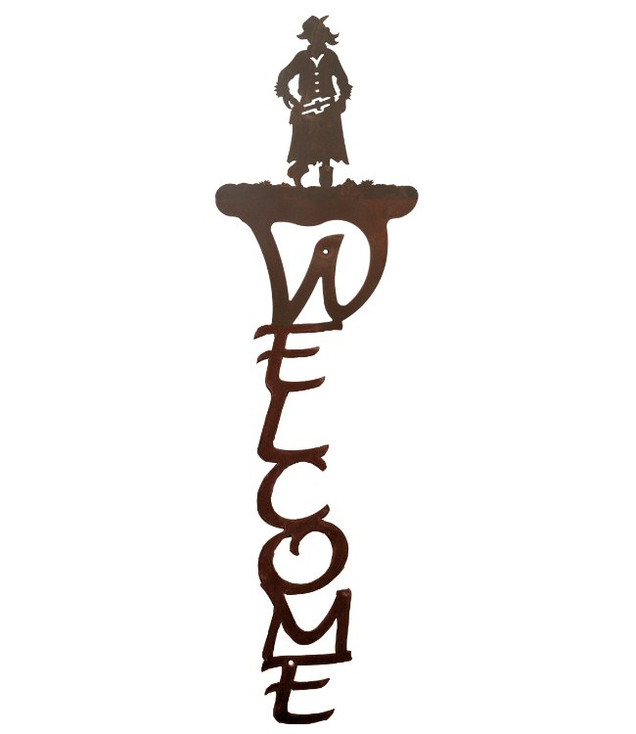 Cowgirl Vertical Metal Welcome Sign
