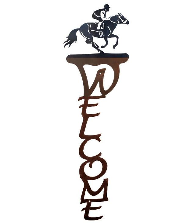 Derby Horse Racer Vertical Metal Welcome Sign