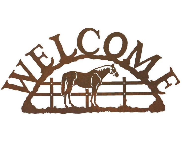 Bay Horse Metal Welcome Sign