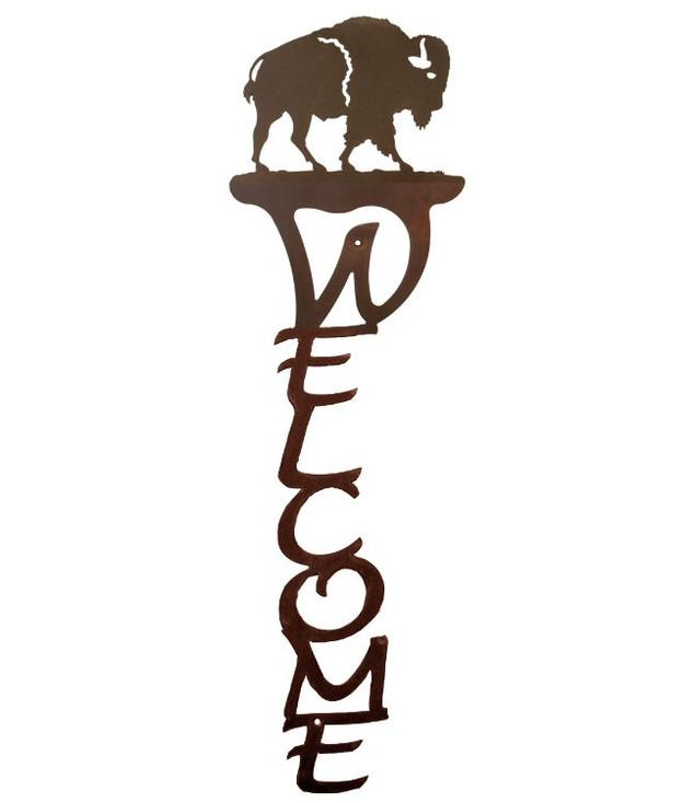 Buffalo Vertical Metal Welcome Sign