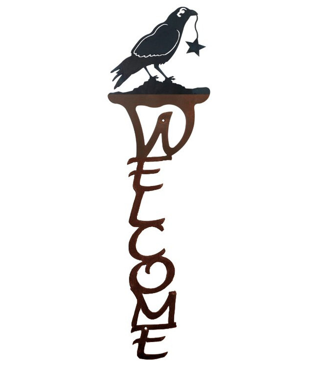 Crow Bird Vertical Metal Welcome Sign