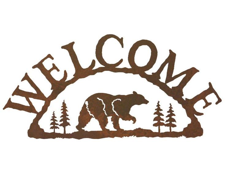 Walking Bear Metal Welcome Sign