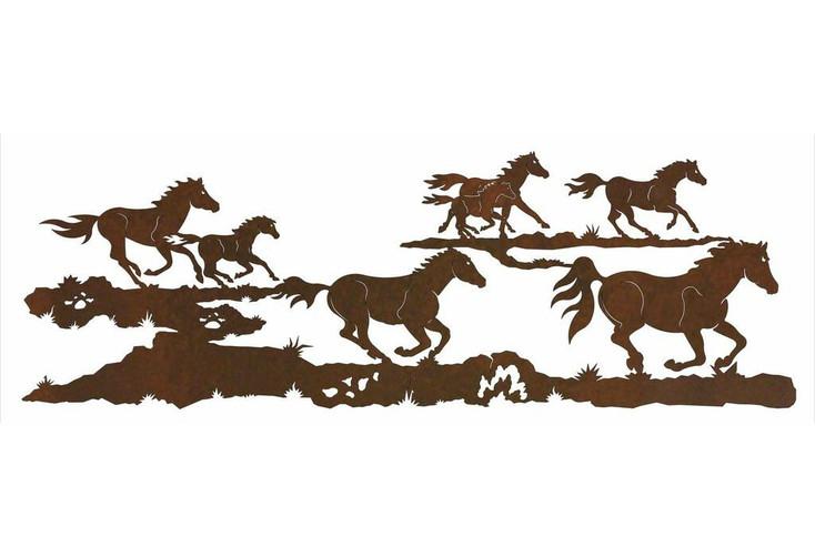 "84"" Running Wild Horses Metal Wall Art"