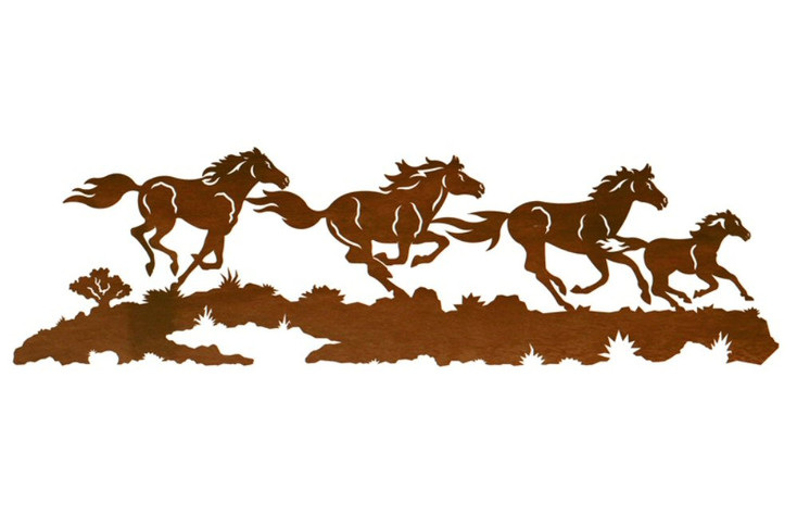 "42"" Running Wild Horses Metal Wall Art"
