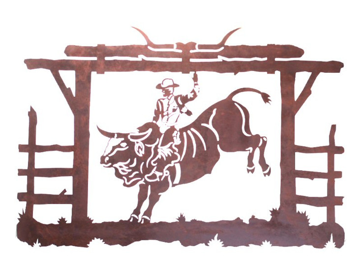"42"" Bull Rider Metal Wall Art"
