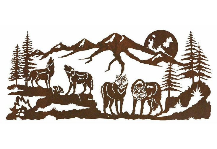 """57"""" Pack of Wolves in the Forest Metal Wall Art"""