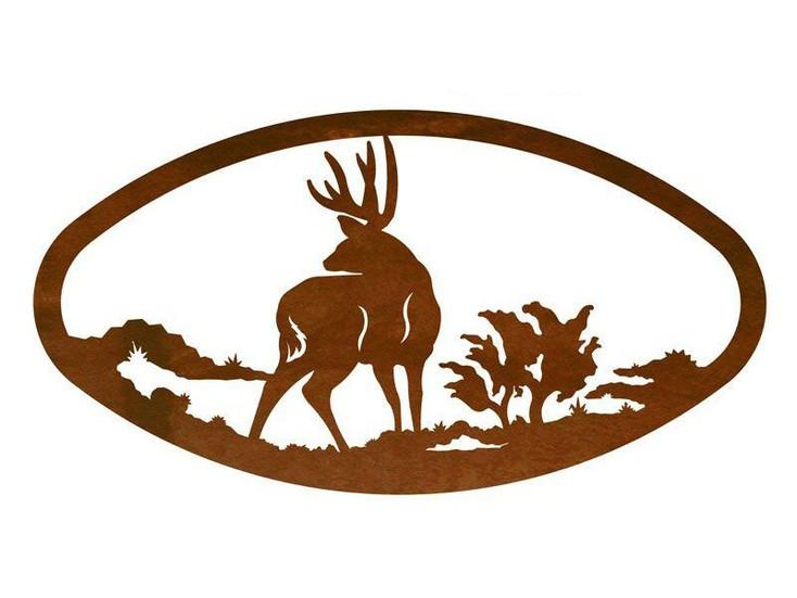 """22"""" Oval Deer Metal Wall Art"""