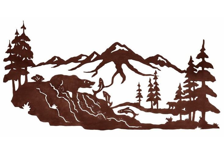 "42"" Bear Fishing in the Woods Metal Wall Art"