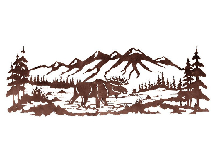 """84"""" Moose in the Pine Forest Metal Wall Art"""