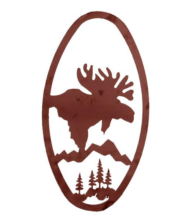 "22"" Oval Moose Head Metal Wall Art"