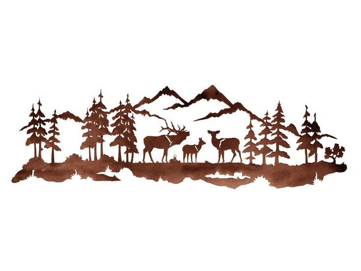 """42"""" Elk Family Metal Wall Art"""