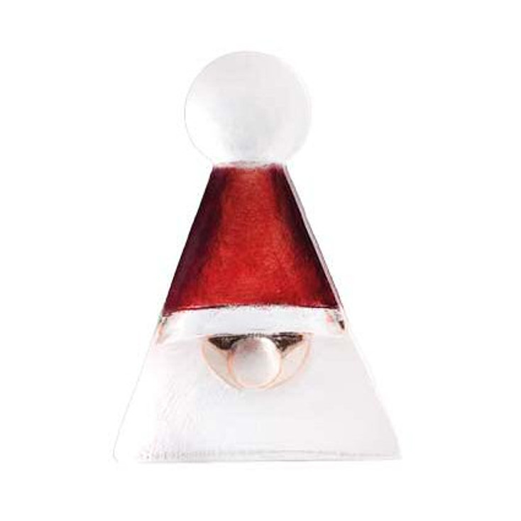 Mini Red Triangle Santa Claus Crystal Sculpture by Mats Jonasson