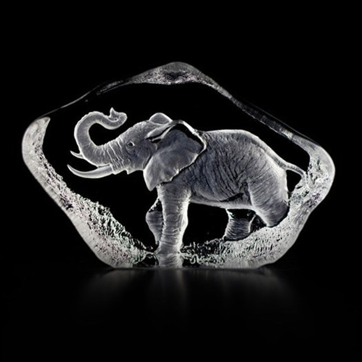 Mini Elephant Etched Crystal Sculpture by Mats Jonasson