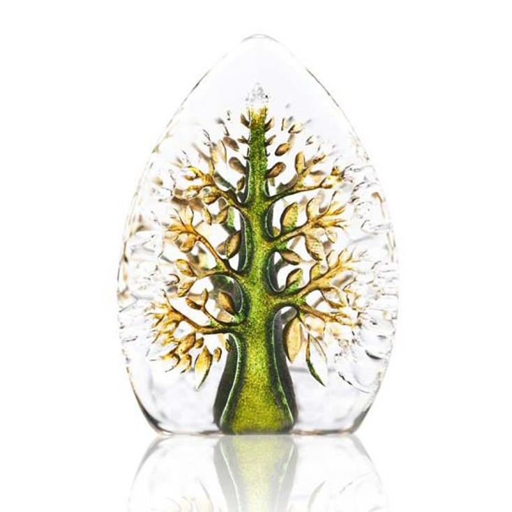 Mini Yggdrasil Tree Life Green Color Crystal Sculpture by M. Jonasson