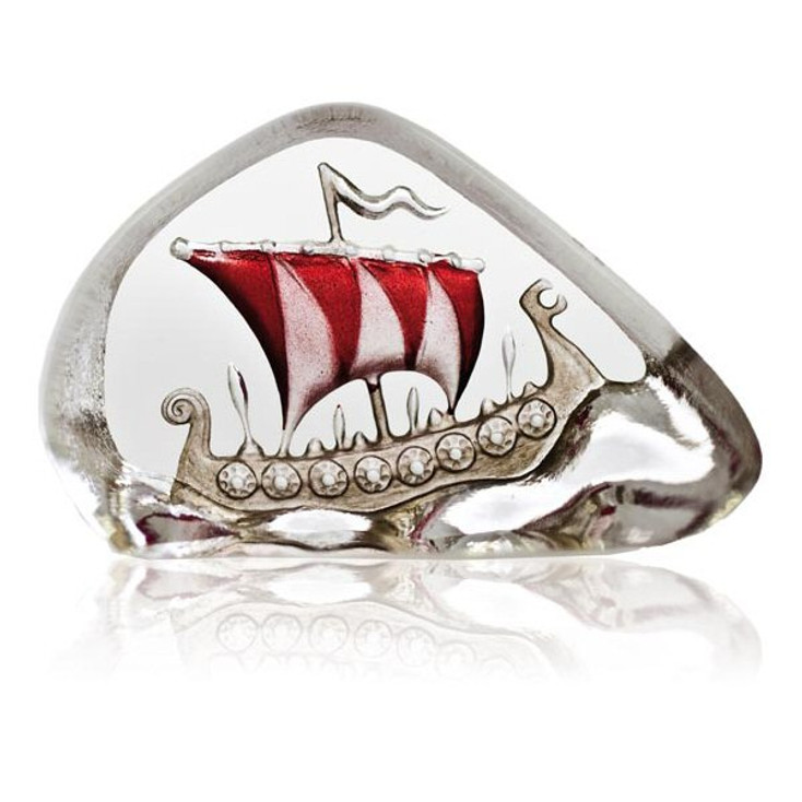 Mini Viking Ship Red Etched Crystal Sculpture by Mats Jonasson