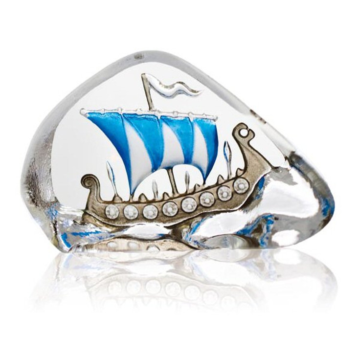 Mini Viking Ship Blue Etched Crystal Sculpture by Mats Jonasson