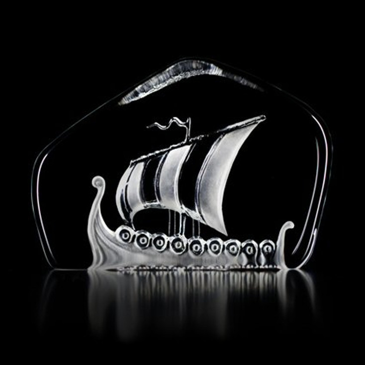 Viking Ship Hand Etched Crystal Sculpture by Mats Jonasson