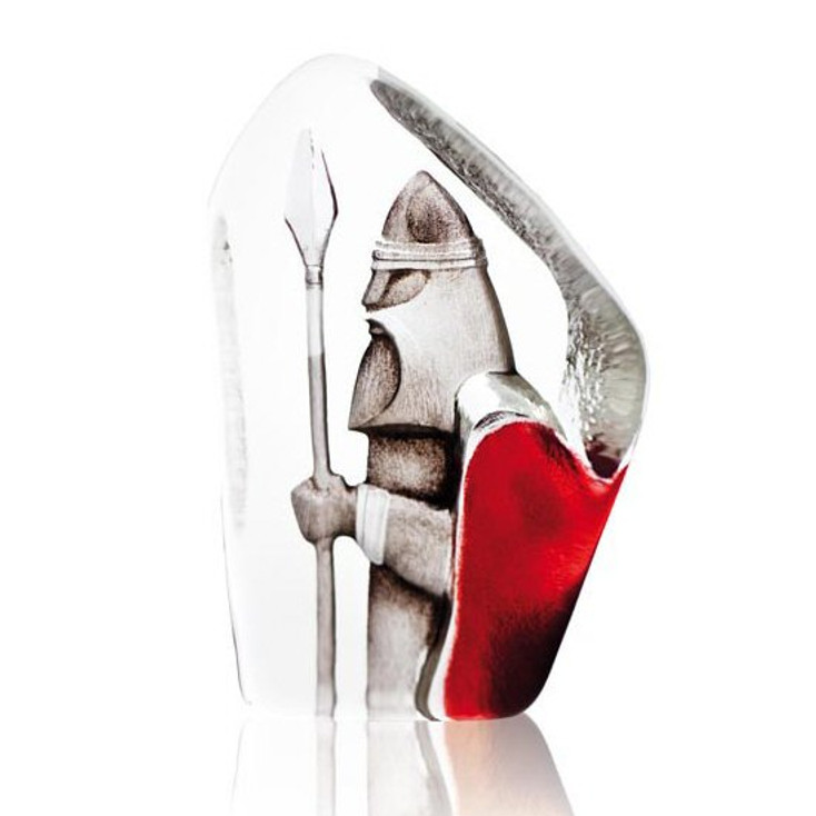 Viking With Spear Colored Etched Crystal Sculpture by Mats Jonasson