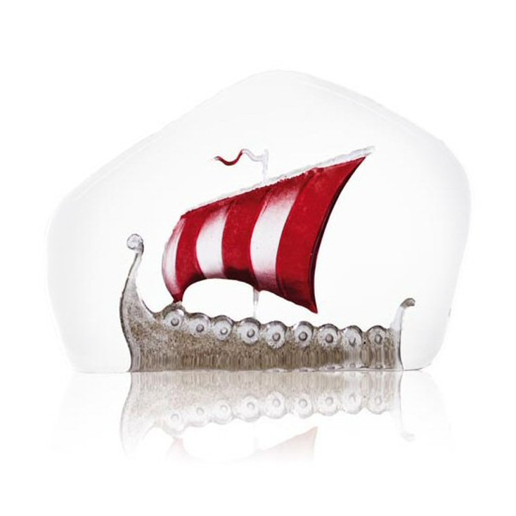 Small Viking Ship Etched Crystal Sculpture by Mats Jonasson