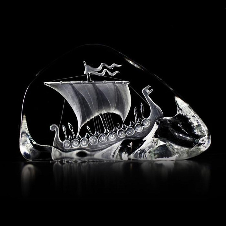 Viking Ship Etched Crystal Sculpture by Mats Jonasson