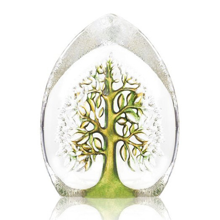 Green and Yellow Yggdrasil Tree Etched Sculpture by Mats Jonasson