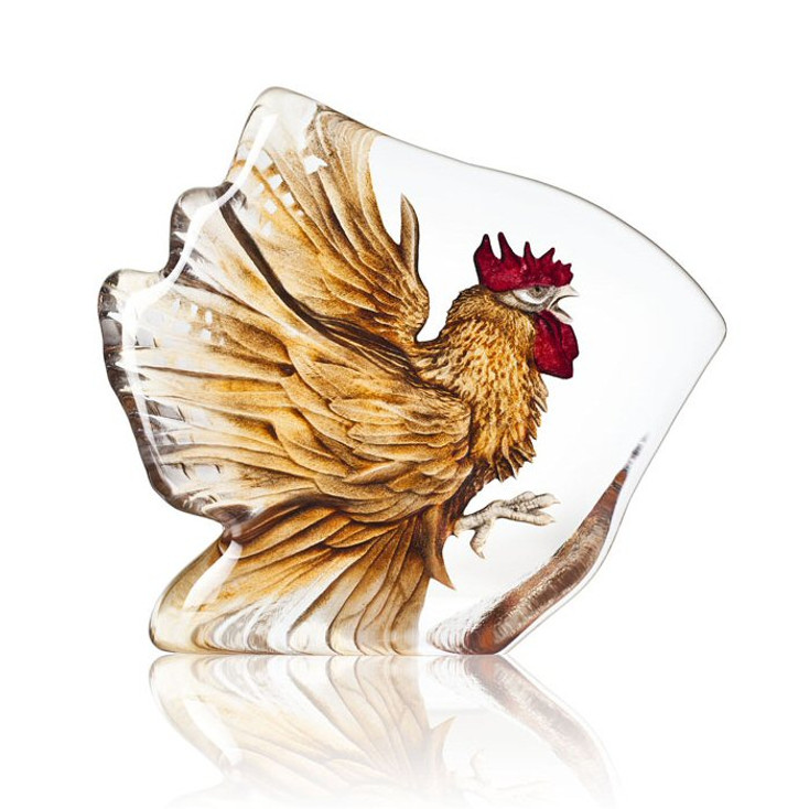 Rooster Bird Brown Color Etched Crystal Sculpture by Mats Jonasson