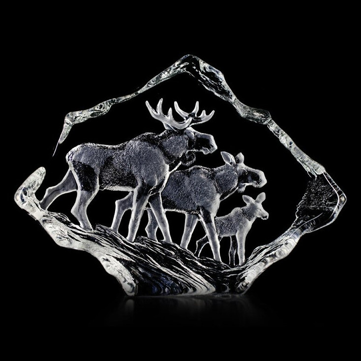 Moose Family Etched Crystal Sculpture by Mats Jonasson