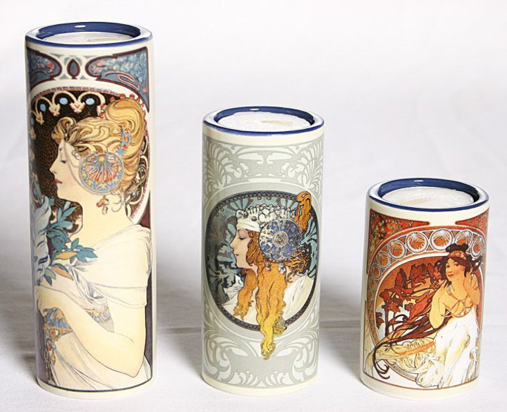Mucha Tea Light Candle Holders, Set of 3
