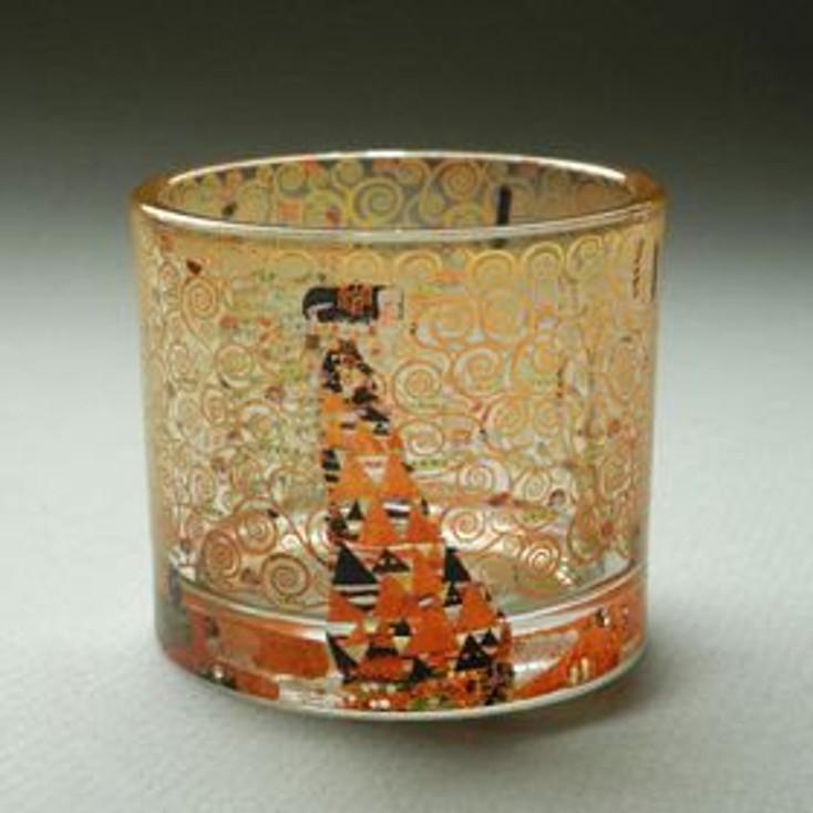 Expectation Glass Tea Light Candle Holders by Gustav Klimt, Set of 2