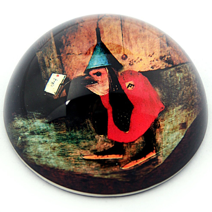 Bird with Letter, Temptation of St Anthony Glass Paperweight by Bosch