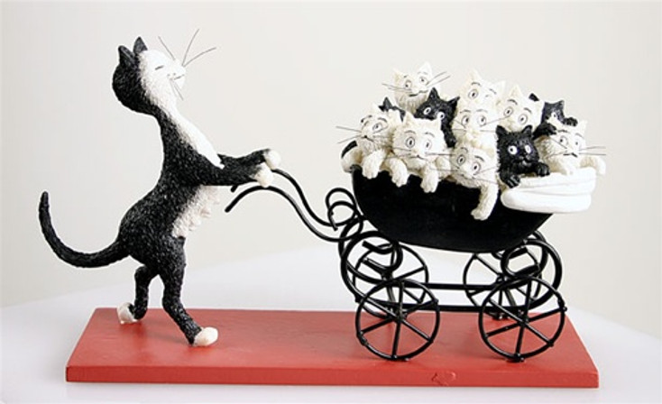 The Proud Mom with Kittens in a Stroller Statue by Albert Dubout