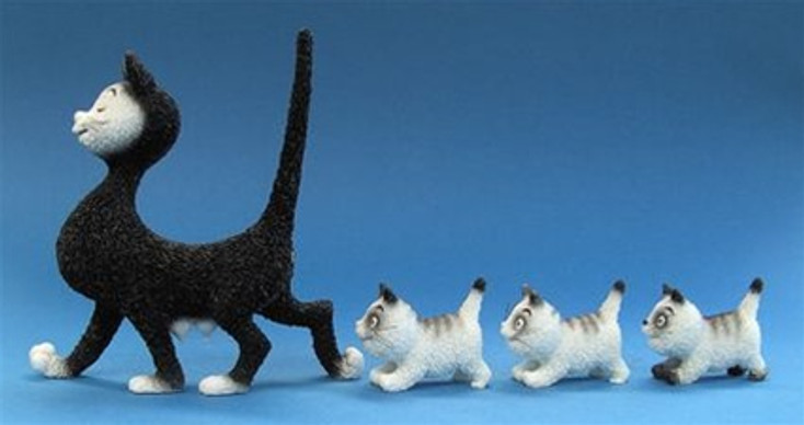 Mommy Cat Walking Three Kittens Statue by Albert Dubout