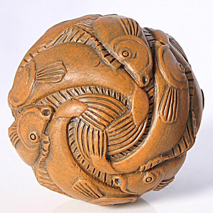 Miniature Sphere Fish Tessellation Statue by Escher