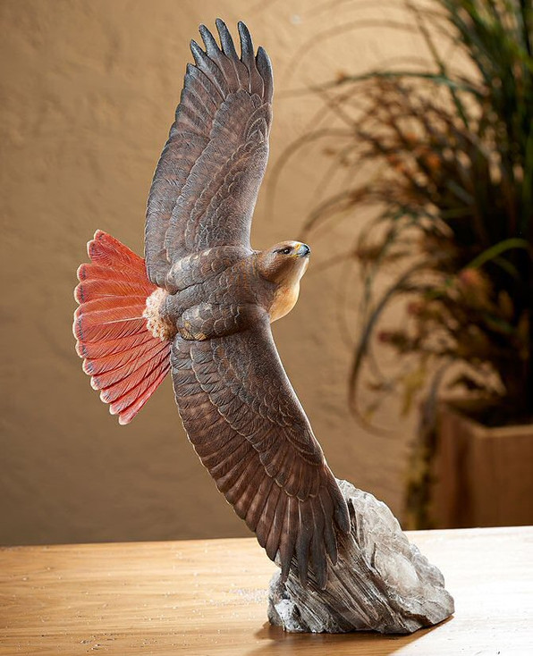Soaring Red Tailed Hawk Bird Hand Painted Sculpture