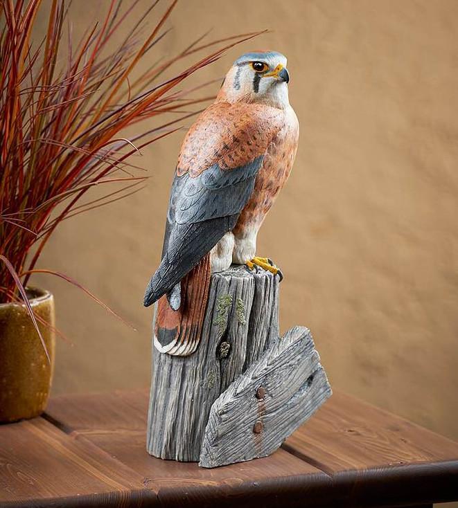 American Kestrel Falcon Bird Hand Painted Sculpture