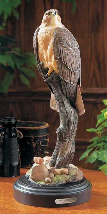 Red Tailed Hawk Bird Hand Painted Sculpture