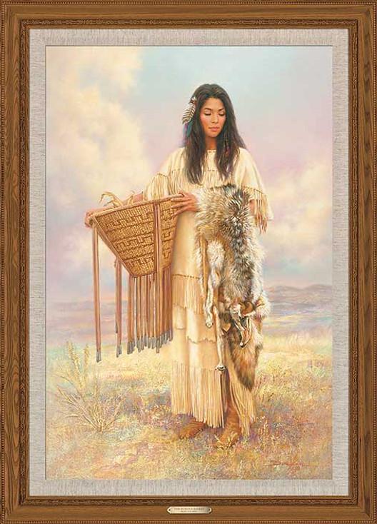 Burden Basket Indian Woman Framed Canvas Giclee Art Print Wall Art