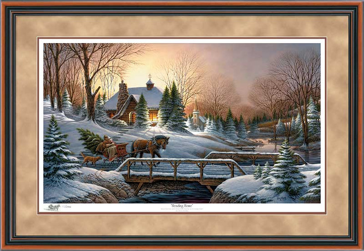 Limited Edition Heading Home Walnut Framed Canvas Art Print Wall Art
