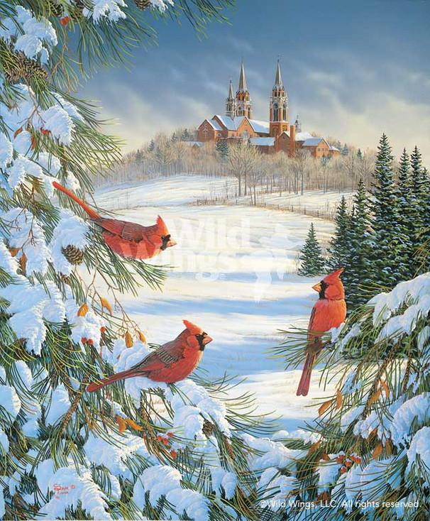 Cardinal Birds at Holy Hill Canvas Giclee Art Print Wall Art